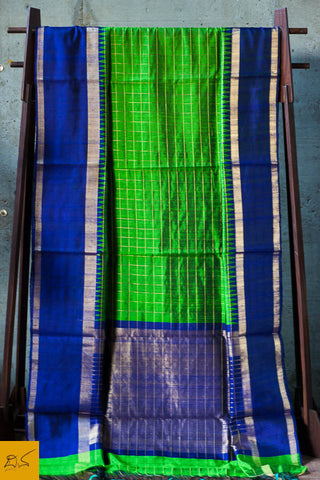 Green and blue Dupion silk checks handwoven saree