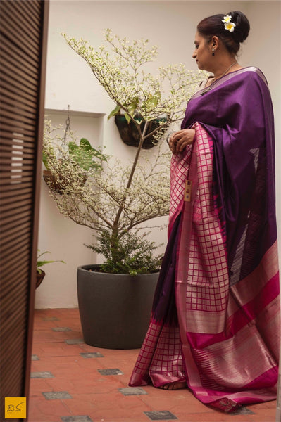 This is a gorgeous dupion silk handwoven Saree with purple and pink body. New trend of Dupion Silk Saree designs,  Dupion Silk Saree for artists, art lovers, architects, saree lovers, Saree connoisseurs, musicians, dancers, doctors, Dupion Silk saree, indian saree images, latest sarees with price, only saree images, new Dupion Silk saree design.