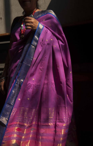 Pink and blue cotton Paithani handwoven saree