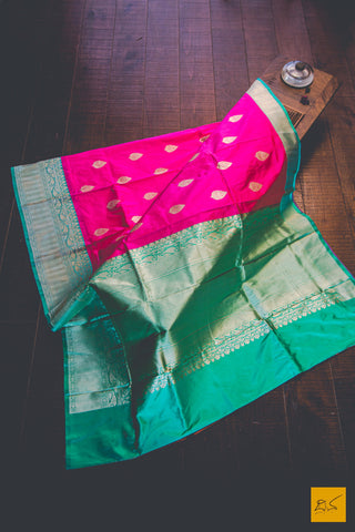 Pink & Jungle Green Banarasi Katan silk handwoven saree