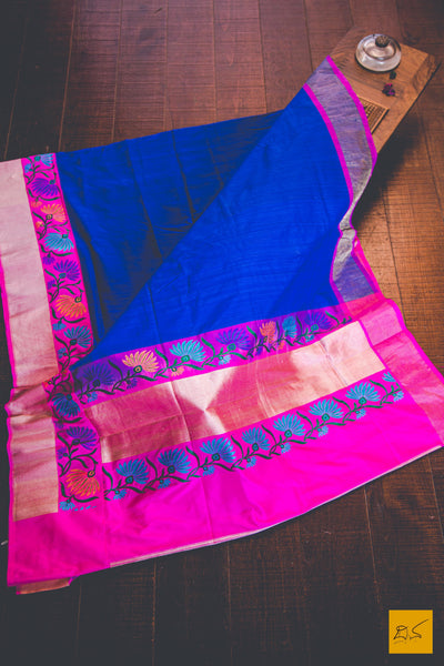 This is a gorgeous Banarasi Tussar Silk Handwoven Saree with a blue and pink body. New trend of Banarasi Saree designs, Banarasi Saree for artists, art lovers, architects, saree lovers, Saree connoisseurs, musicians, dancers, doctors, Banarasi silk saree, indian saree images, latest sarees with price, only saree images, new Banarasi saree design.