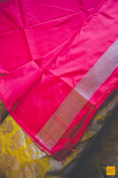 This is a beautiful katan silk banarasi sari with a yellow body. New trend of Banarasi Saree designs, Banarasi Saree for artists, art lovers, architects, saree lovers, Saree connoisseurs, musicians, dancers, doctors, Banarasi Katan silk saree, indian saree images, latest sarees with price, only saree images, new Banarasi saree design.