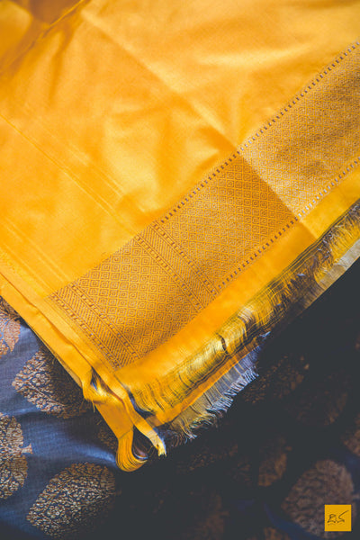 Gray Banarasi Katan silk saree