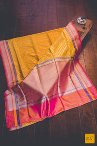This is a gorgeous Banarasi silk Saree with with an yellow body. New trend of Banarasi Saree designs, Banarasi Saree for artists, art lovers, architects, saree lovers, Saree connoisseurs, musicians, dancers, doctors, Banarasi silk saree, indian saree images, latest sarees with price, only saree images, new Banarasi saree design.