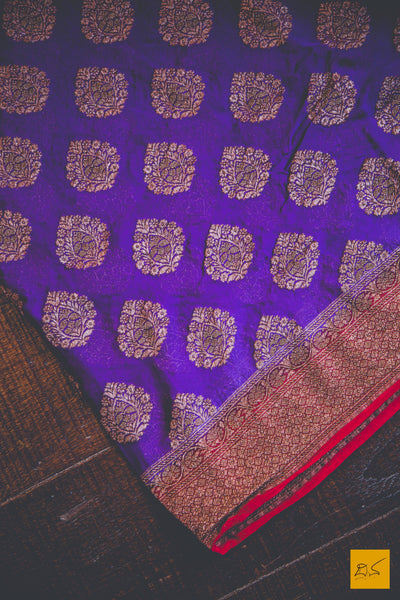 This is a gorgeous Banarasi Georgette Saree with a Violet body and decorated with beautiful motifs. New trend of Banarasi Saree designs, Banarasi Saree for artists, art lovers, architects, saree lovers, Saree connoisseurs, musicians, dancers, doctors, Banarasi silk saree, indian saree images, latest sarees with price, only saree images, new Banarasi saree design.
