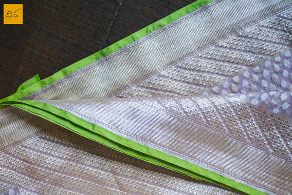 This is a gorgeous Banarasi Cotton Handwoven Saree with a green selvedge which enhances the beauty. The blouse is of dove grey colour with woven border. New trend of Banarasi Saree designs, Banarasi Saree for artists, art lovers, architects, saree lovers, Saree connoisseurs, musicians, dancers, doctors, Banarasi silk saree, indian saree images, latest sarees with price, only saree images, new Banarasi saree design.
