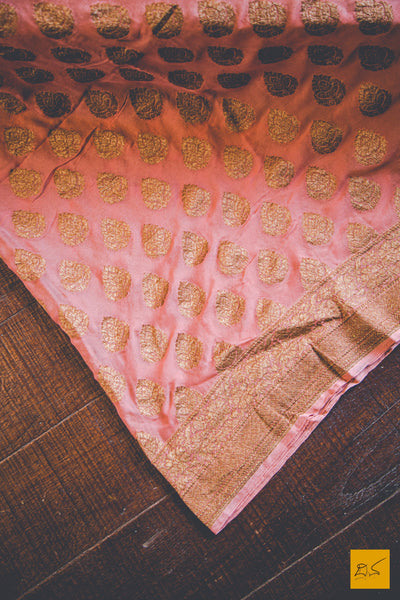 Flamingo Pink Banarasi Georgette Saree