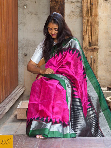 This is a gorgeous dupion silk handwoven Saree with pink, green and black body. New trend of Dupion Silk Saree designs,  Dupion Silk Saree for artists, art lovers, architects, saree lovers, Saree connoisseurs, musicians, dancers, doctors, Dupion Silk saree, indian saree images, latest sarees with price, only saree images, new Dupion Silk saree design.