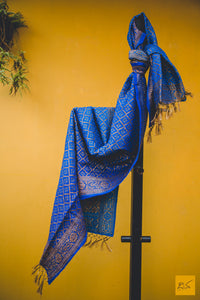 Just the colour blue makes you smile.  A munga silk banarasi stole.  Length - 2.25 m  width - 22.5 in