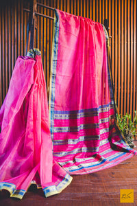 A lovely pink maheshwari pure silk cotton saree with contrast blue and greenish yellow. New trend of Saree designs, Saree for artists, art lovers, architects, saree lovers, Saree connoisseurs, musicians, dancers, doctors, silk saree, indian saree images, latest sarees with price, only saree images, new saree design.