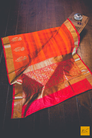 Orange & Red Banarasi Tussar Silk Hanwoven Saree