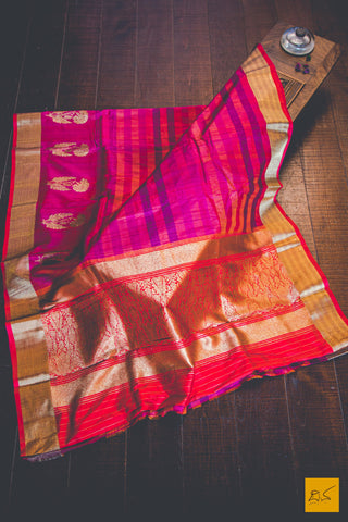 Pink & Red Banarasi Tussar Silk Handwoven Saree