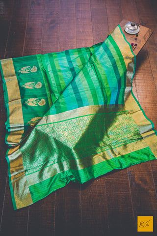 Green Banarasi Tussar Silk Handwoven Saree