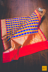 This wonderful Banarasi Matka Silk Saree consists of three colours in it's body; Blue, Red and Yellow. New trend of Banarasi Saree designs, Banarasi Saree for artists, art lovers, architects, saree lovers, Saree connoisseurs, musicians, dancers, doctors, Banarasi silk saree, indian saree images, latest sarees with price, only saree images, new Banarasi saree design.