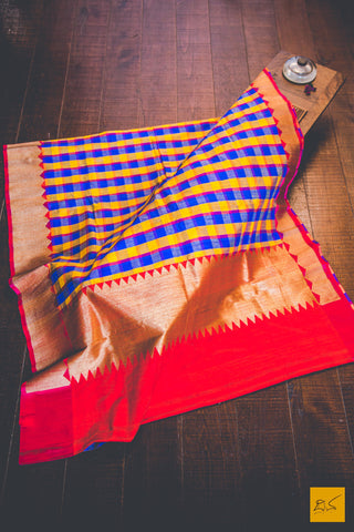 Blue Red & Yellow Banarasi Matka Silk Handwoven Saree