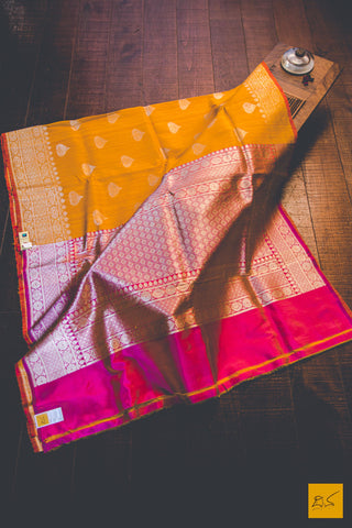Honey Yellow & Pink Banarasi Tussar Silk Handwoven Saree