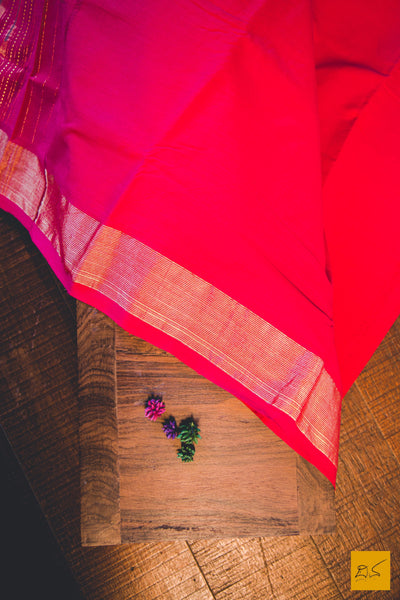 A lovely pink - orange paithani cotton handwoven saree. New trend of Saree designs, Saree for artists, art lovers, architects, saree lovers, Saree connoisseurs, musicians, dancers, doctors, silk saree, indian saree images, latest sarees with price, only saree images, new saree design.