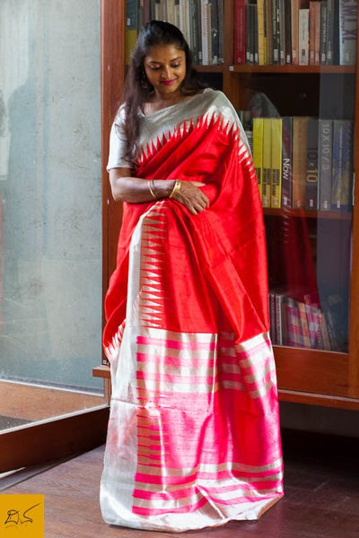 Red Dupion silk handwoven saree