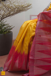 This is a gorgeous dupion silk handwoven Saree with a yellow and rose body. New trend of Saree designs, Saree for artists, art lovers, architects, saree lovers, Saree connoisseurs, musicians, dancers, doctors, linen saree, indian saree images, latest sarees with price, only saree images, new saree design.