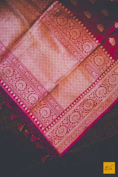 Pink-Red Banarasi Katan Silk Handwoven Saree