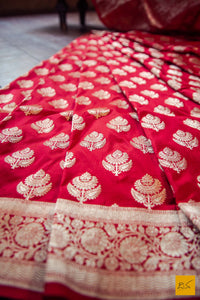 A beautiful katan silk banarasi handwoven sari with a red body. New trend of Banarasi Saree designs, Banarasi Saree for artists, art lovers, architects, saree lovers, Saree connoisseurs, musicians, dancers, doctors, Banarasi Katan silk saree, indian saree images, latest sarees with price, only saree images, new Banarasi saree design.