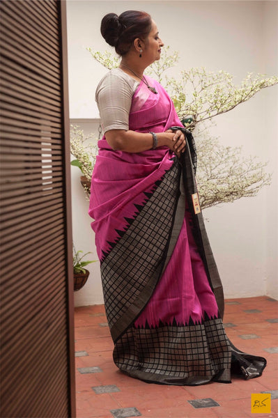This is a gorgeous dupion silk handwoven Saree with pink and black body. New trend of Dupion Silk Saree designs,  Dupion Silk Saree for artists, art lovers, architects, saree lovers, Saree connoisseurs, musicians, dancers, doctors, Dupion Silk saree, indian saree images, latest sarees with price, only saree images, new Dupion Silk saree design.