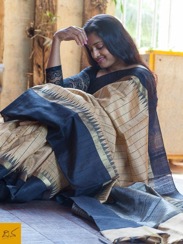 Beige and black Dupion silk checks handwoven saree