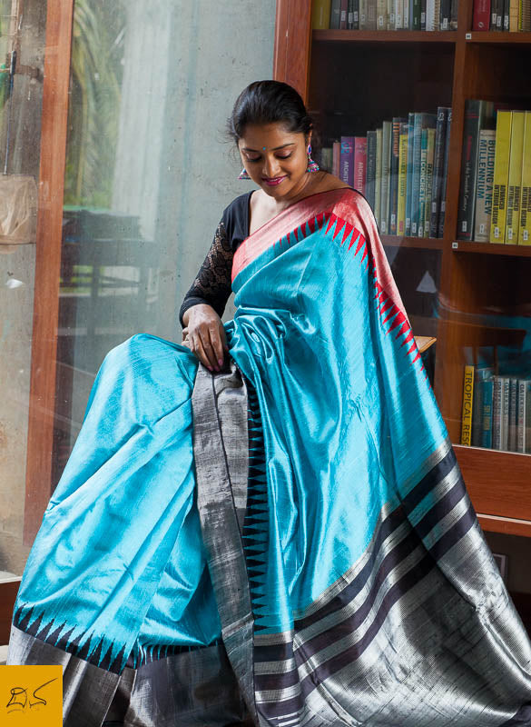 Blue,red and black Dupion silk handwoven saree