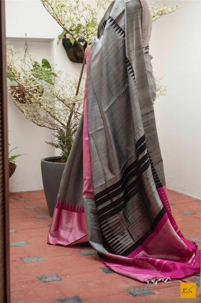 This is a gorgeous dupion silk handwoven Saree with a pink, grey and black body. New trend of Saree designs, Saree for artists, art lovers, architects, saree lovers, Saree connoisseurs, musicians, dancers, doctors, linen saree, indian saree images, latest sarees with price, only saree images, new saree design.