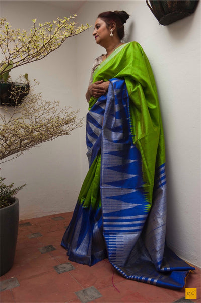 This is a gorgeous dupion silk handwoven Saree with a green and blue body. New trend of Saree designs, Saree for artists, art lovers, architects, saree lovers, Saree connoisseurs, musicians, dancers, doctors, linen saree, indian saree images, latest sarees with price, only saree images, new saree design.