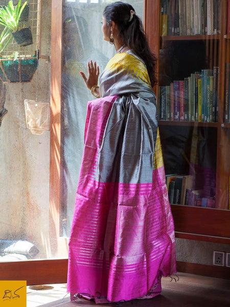 Gray, yellow and pink Dupion silk handwoven saree