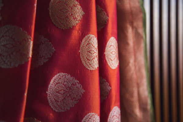 Rust orange katan silk banarasi handwoven saree