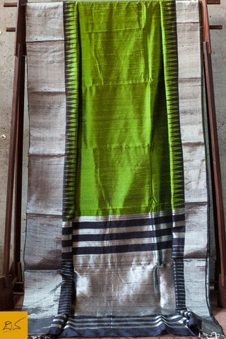 Green and black Dupion silk handwoven saree