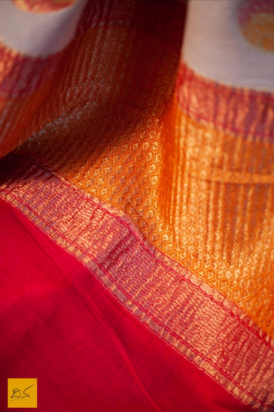 This is a gorgeous Banarasi munga silk Saree with brush dyed buttas and contrast red blouse. New trend of Banarasi Saree designs, Banarasi Saree for artists, art lovers, architects, saree lovers, Saree connoisseurs, musicians, dancers, doctors, Banarasi silk saree, indian saree images, latest sarees with price, only saree images, new Banarasi saree design.