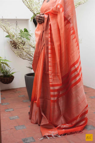 Orange Dupion silk handwoven saree