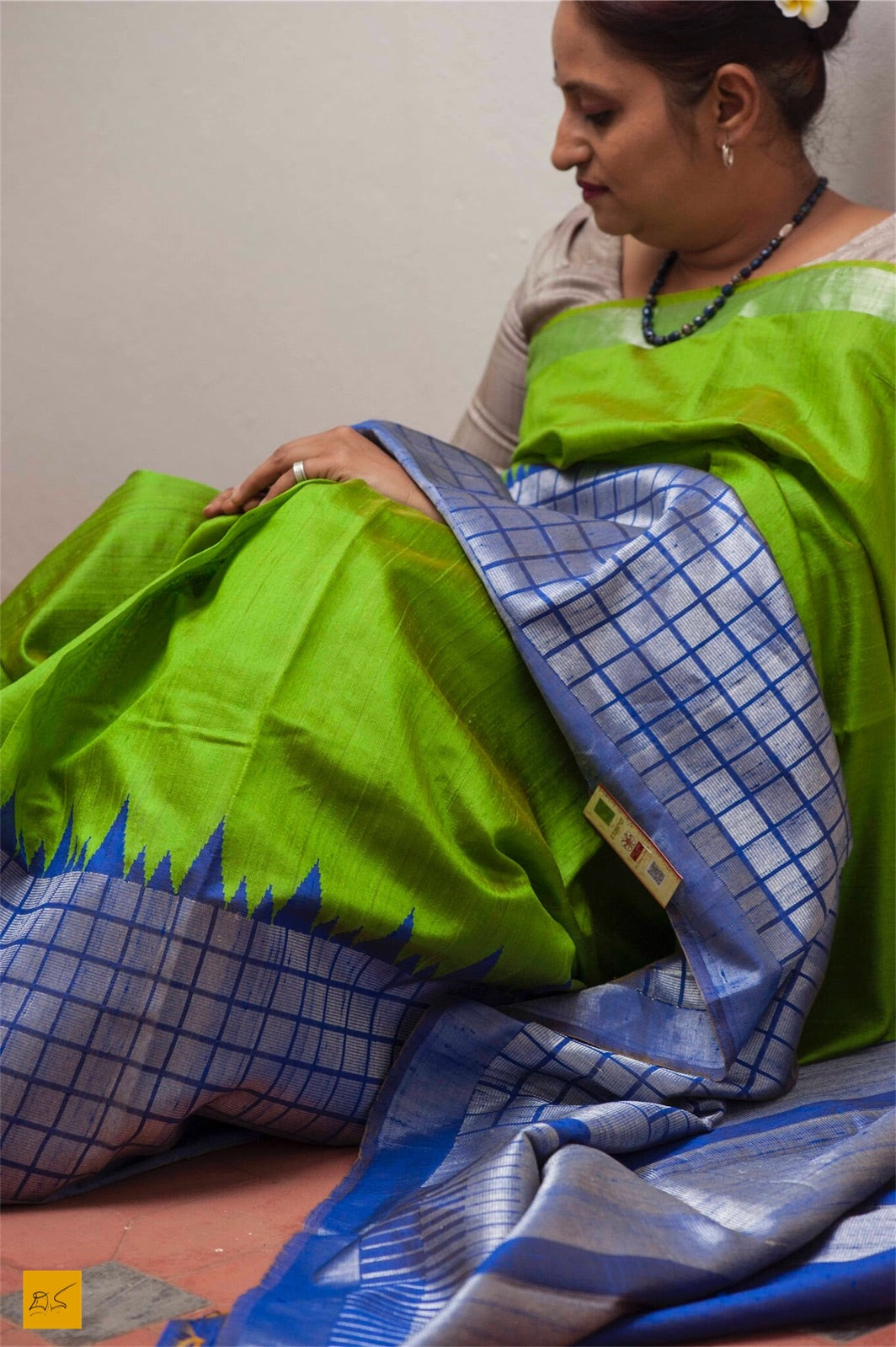 Green and blue Dupion silk handwoven saree