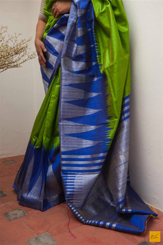 Green and blue Dupion silk big border handwoven saree