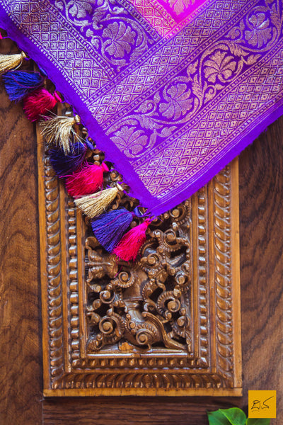 This is a gorgeousraspberry pink munga silk dupatta with antique zari and purple border. New trend of munga Silk dupatta designs, munga Silk dupatta for artists, art lovers, architects, dupatta lovers, dupatta connoisseurs, musicians, dancers, doctors, munga Silk dupatta, indian dupatta images, latest dupattas with price, only dupatta images, new munga silk dupatta design.