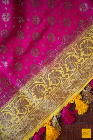 This is a gorgeous amaranth pink munga silk dupatta with antique zari and yellow border. New trend of munga Silk dupatta designs, munga Silk dupatta for artists, art lovers, architects, dupatta lovers, dupatta connoisseurs, musicians, dancers, doctors, munga Silk dupatta, indian dupatta images, latest dupattas with price, only dupatta images, new munga silk dupatta design.