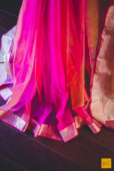 This is a gorgeous Chanderi katan silk shaded saree New trend of chanderi pure silk saree designs, chanderi pure Silk saree for artists, art lovers, architects, saree lovers, saree connoisseurs, musicians, dancers, doctors, chanderi pure Silk saree, indian saree images, latest sarees with price, only saree images, new chanderi pure silk saree design.