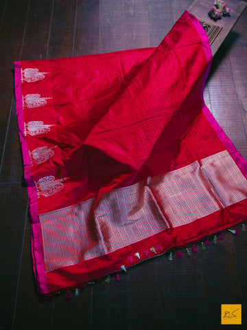 This is a gorgeous pure Satin silk banarasi handwoven saree with self woven designs in red. A saree collector's choice. The saree is accompanied with a beautiful brocade blouse. New trend of Satin silk Saree designs,  Satin silk Saree for artists, art lovers, architects, saree lovers, Saree connoisseurs, musicians, dancers, doctors, Satin silk saree, indian saree images, latest sarees with price, only saree images, new Satin silk saree design.