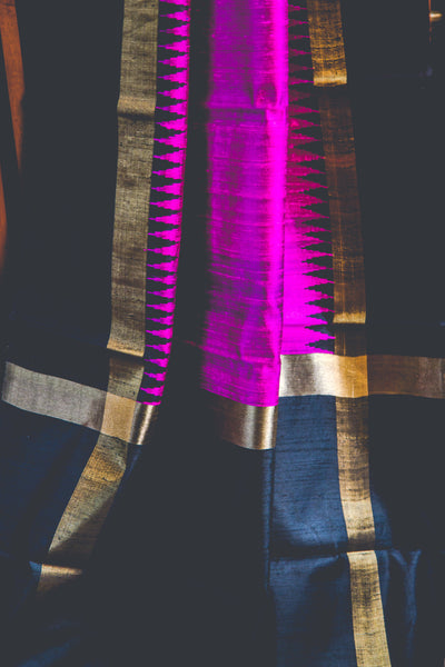 Pink and black dupion silk handwoven saree