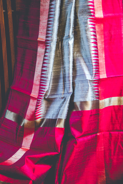 Grey-biege and red dupion silk handwoven saree
