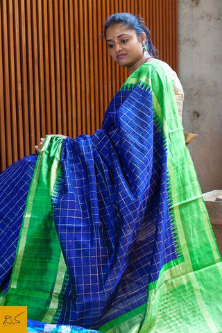 Blue and green Dupion silk checks handwoven saree