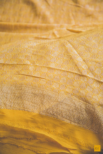 This is a wonderful banarasi georgette handwoven sari with a yellow body. New trend of Banarasi Saree designs, Banarasi Saree for artists, art lovers, architects, saree lovers, Saree connoisseurs, musicians, dancers, doctors, Banarasi Katan silk saree, indian saree images, latest sarees with price, only saree images, new Banarasi saree design.