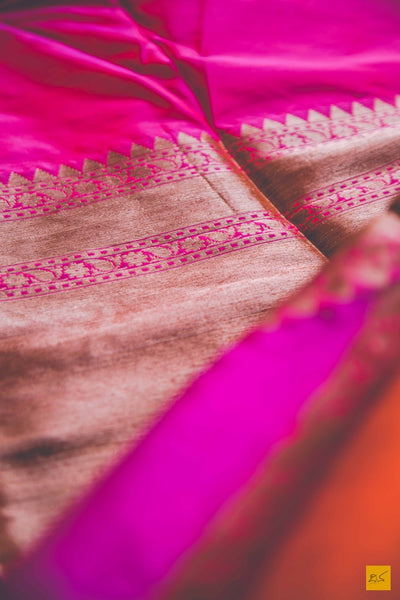 Pink and orange katan silk banarasi rangkat handwoven saree