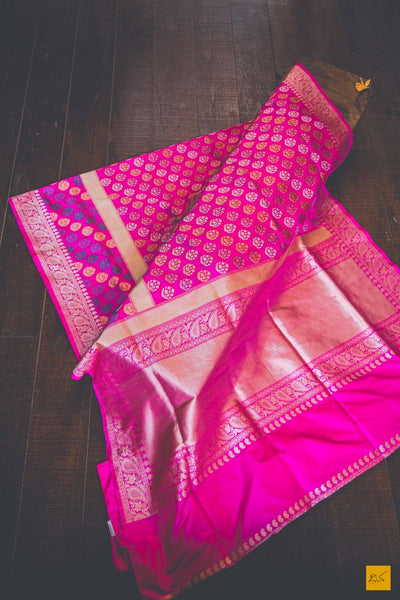 A beautiful katan silk banarasi handwoven sari with zari buttas in the body and three colour( Tilfi) Resham buttas in the skirt border. Each of the lateefa buttas are hand embroidered on the loom ( Kadhwa ) which is a time taking work. New trend of Banarasi Saree designs, Banarasi Saree for artists, art lovers, architects, saree lovers, Saree connoisseurs, musicians, dancers, doctors, Banarasi Katan silk saree, indian saree images, latest sarees with price, only saree images, new Banarasi saree design.