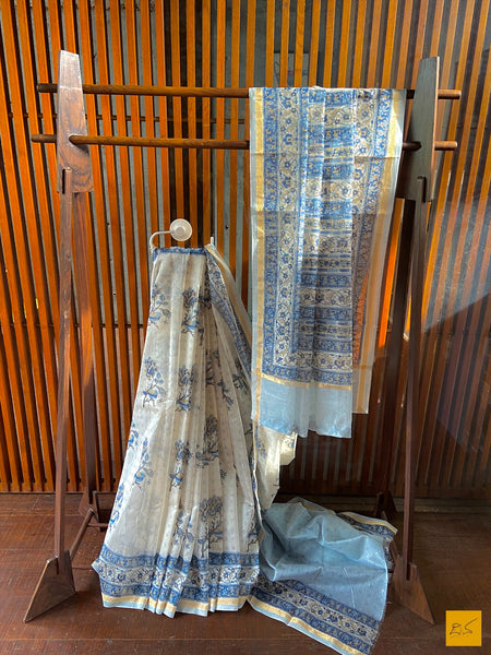 BLUE chanderi silk handwoven saree with hand block prints for cocktail party, informal , formal, latest design 2020, sarees designs, new trend sarees, indian sarees