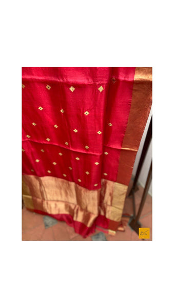 RED chanderi silk handwoven saree for cocktail party, informal , formal, latest design 2020, sarees designs, new trend sarees, indian sarees