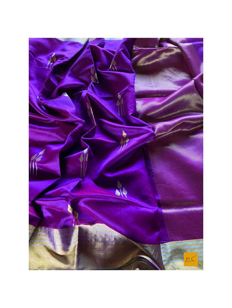 BLUE/PURPLE chanderi silk handwoven saree for cocktail party, informal , formal, latest design 2020, sarees designs, new trend sarees, indian sarees